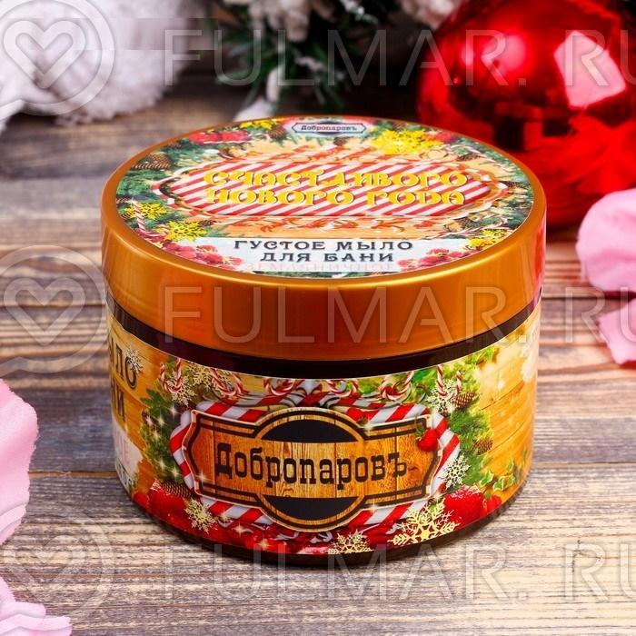Густое мыло для бани новогоднее в баночке, аромат: земляника, 450 г