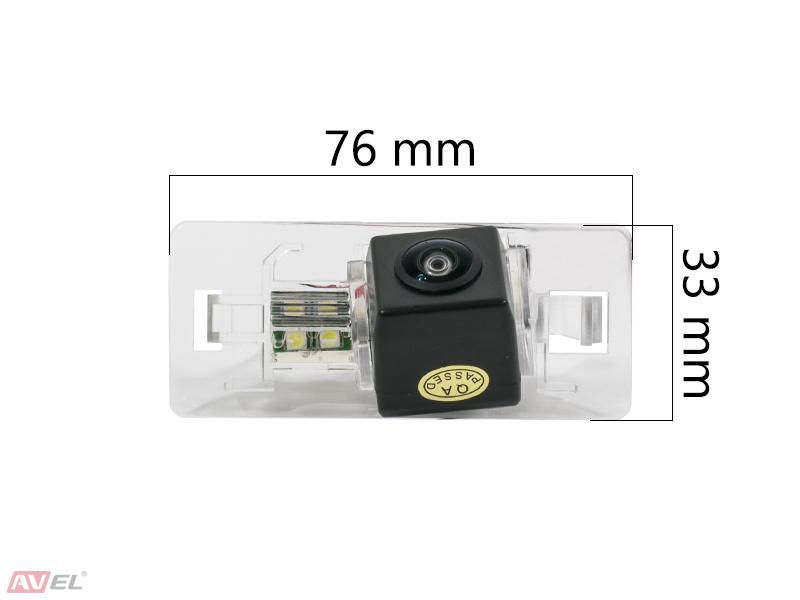 Штатная камера заднего вида Avel AVS327CPR (#001) для AUDI A1/A4 (2008-...)/A5/A7/Q3/Q5/TT / VOLKSWAGEN GOLF V PLUS / ..