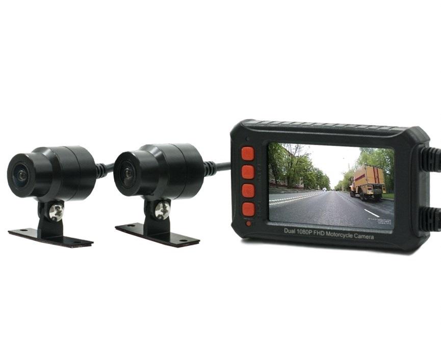 Двухканальный видеорегистратор AVS540DVR для мотоцикла / квадроцикла / снегохода (Full HD 1080P) (+ Разветвитель в под..