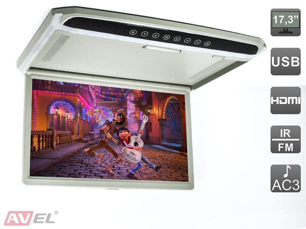 Автомобильный монитор AVEL AVS1707MPP серый (+ Антисептик-спрей для рук в подарок!)