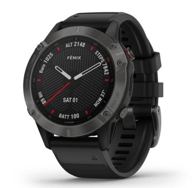 Умные часы Garmin Fenix 6 Sapphire серый DLC с черным ремешком
