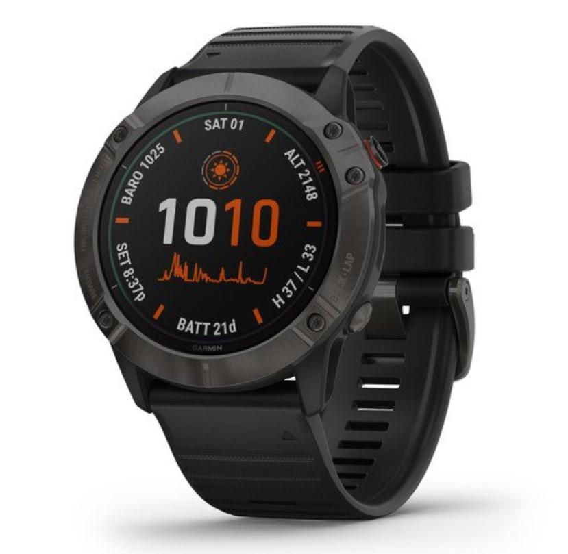 Умные часы Garmin Fenix 6X Pro Solar титановый серый DLC с черным ремешком