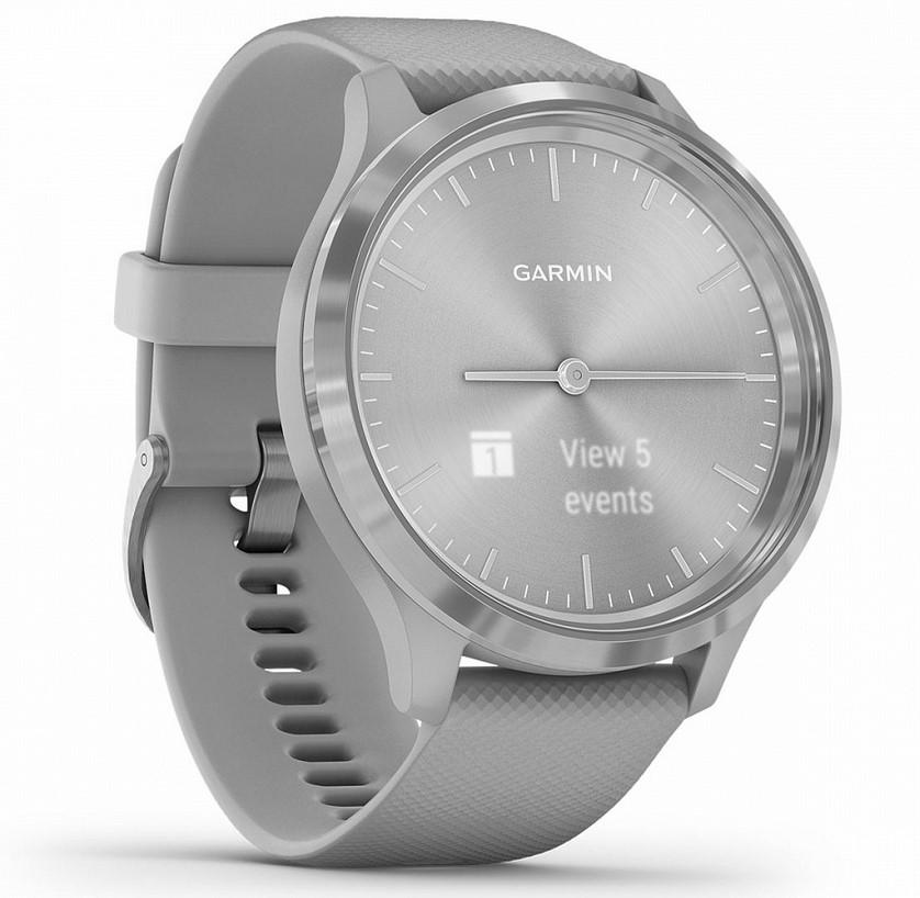 Garmin Vivomove 3 серебристые с серым силиконовым ремешком