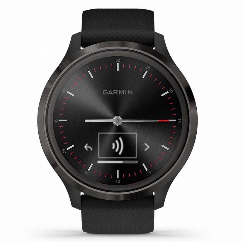Garmin Vivomove 3 черные с черным силиконовым ремешком