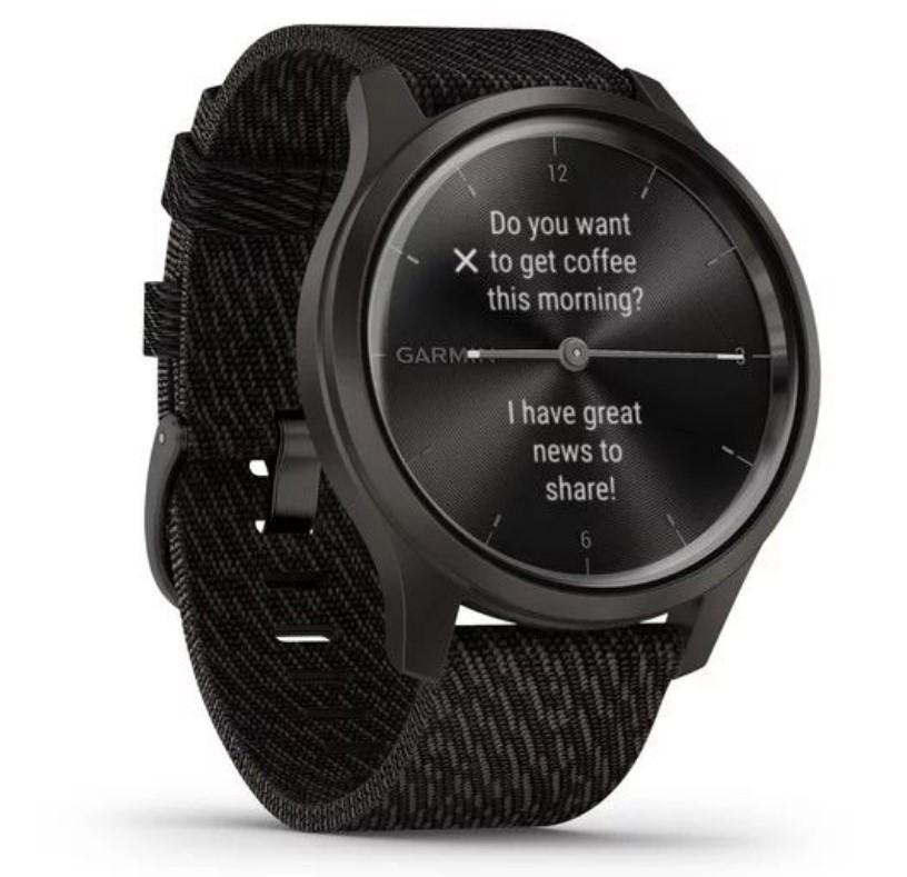 Garmin Vivomove Style графитовый с плетеным нейлоновым черным ремешком