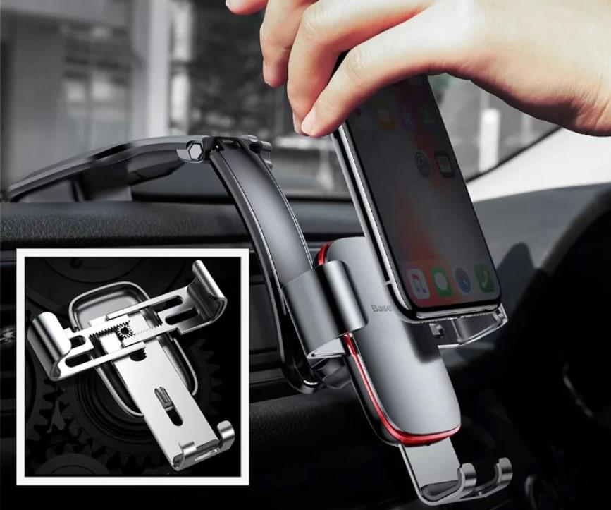 Автомобильный держатель для телефона на панель Baseus Metal Age Gravity Car темно-серый