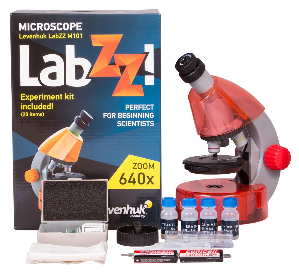 Микроскоп Levenhuk LabZZ M101 OrangeАпельсин (+ Антисептик-спрей для рук в подарок!)