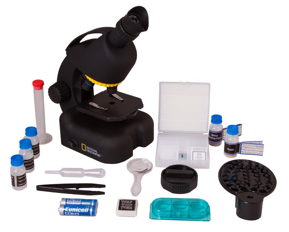 Микроскоп Bresser National Geographic 40–640x, с адаптером для смартфона (+ Книга «Невидимый мир» в подарок!)