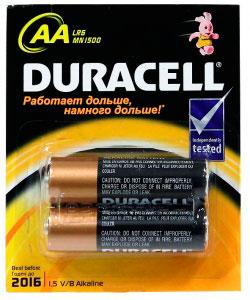 """Набор алкалиновых батареек """"Duracell Original"""", тип AA, 2 шт"""