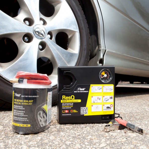 Компрессор автомобильный с герметиком AirMan Res Q Max Tire Repair (+ Мешки для колёс в подарок!)