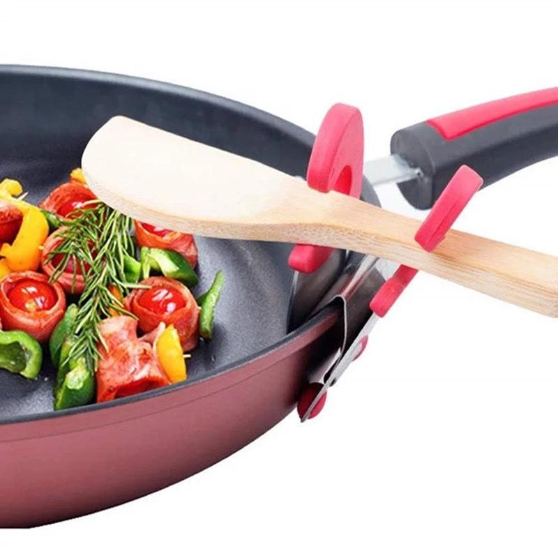 Прищепка держатель ложки на сковородке и кастрюле Красная