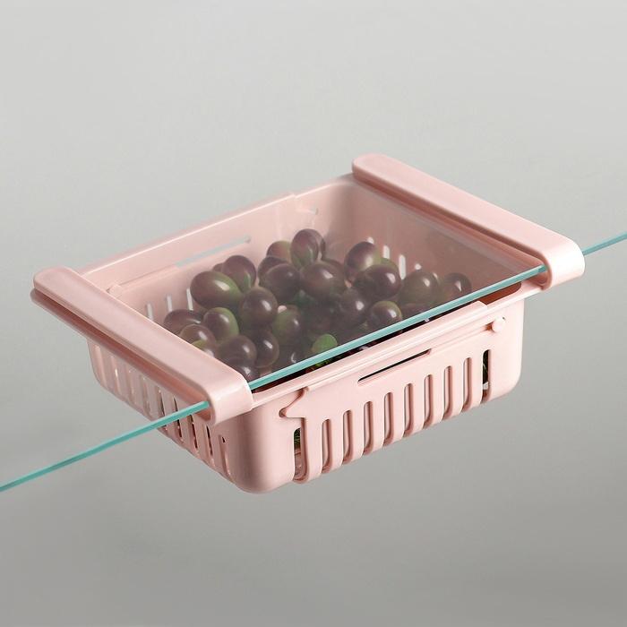 Контейнер в холодильник раздвижной дышащий Розовый