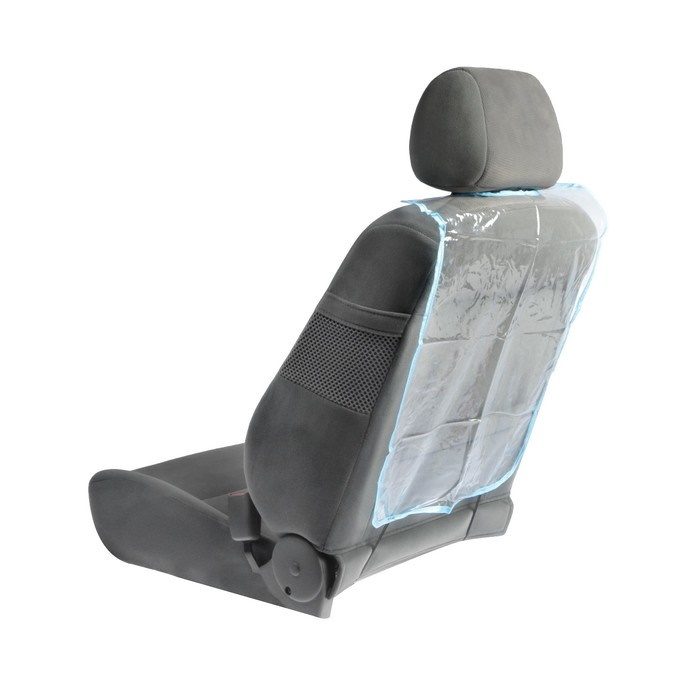 Защита на спинку сиденья Накидка незапинайка 58*42 см синяя окантовка прозрачная