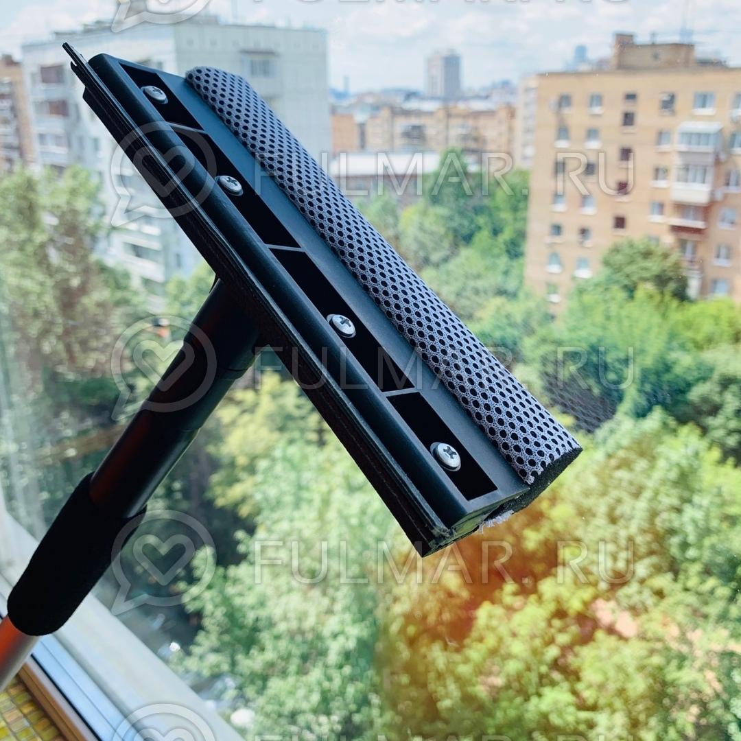 Телескопическая швабра 53-95 см для мытья окон с губкой и водосгоном