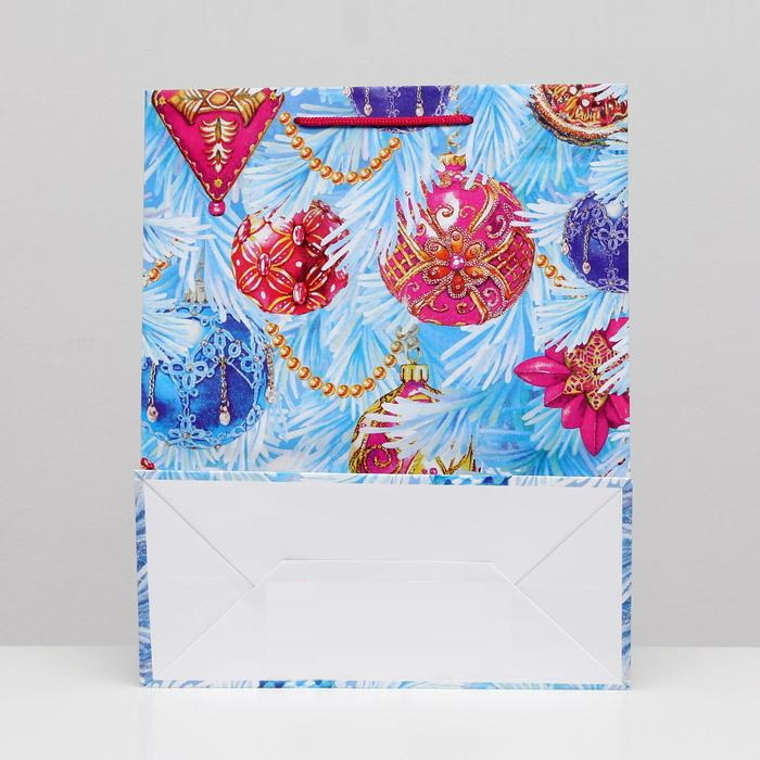 Пакет подарочный новогодний «Зимняя Сказка», 26 х 32 х 12 см  Голубой