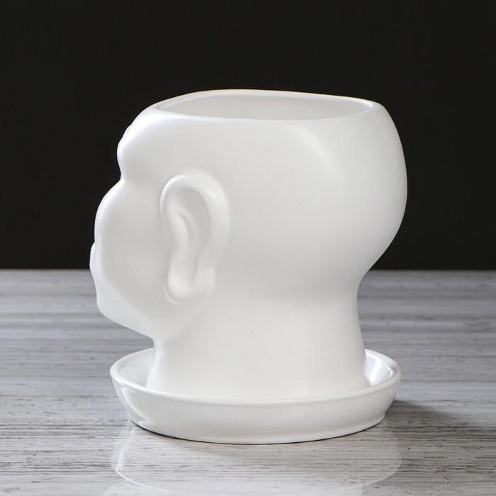 Кашпо горшок фигурное для цветов Голова африканки 1,4 л Белое