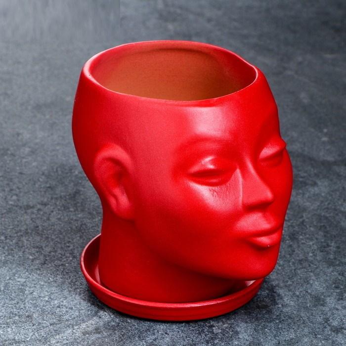 """Фигурное кашпо горшок для цветов """"Голова"""" 15 см, цвет красный"""