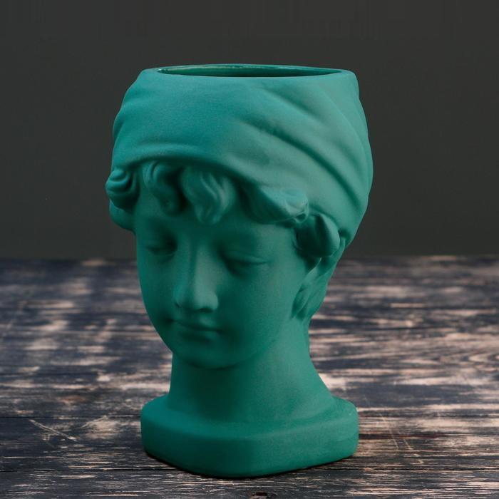 Кашпо фигурное керамическое в виде головы Лолита бирюзовое 21*18см