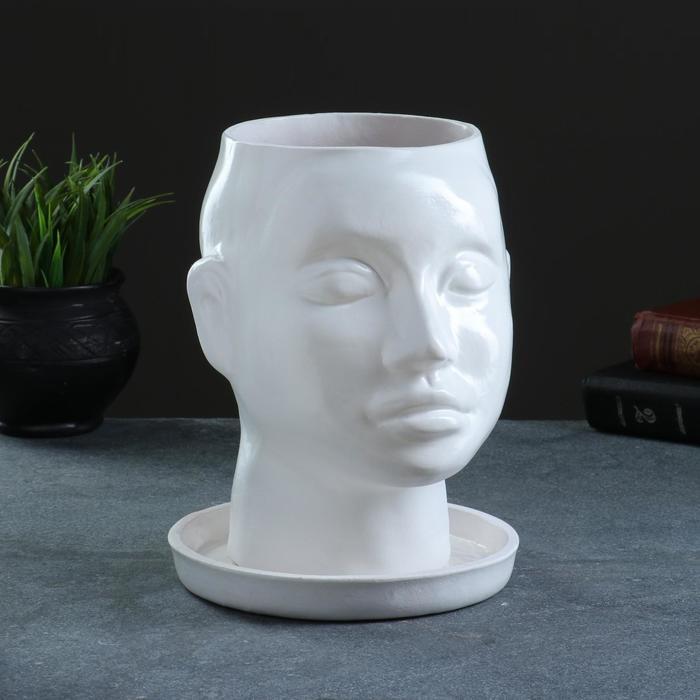 Кашпо керамическое фигурное Голова 24*19 см белое