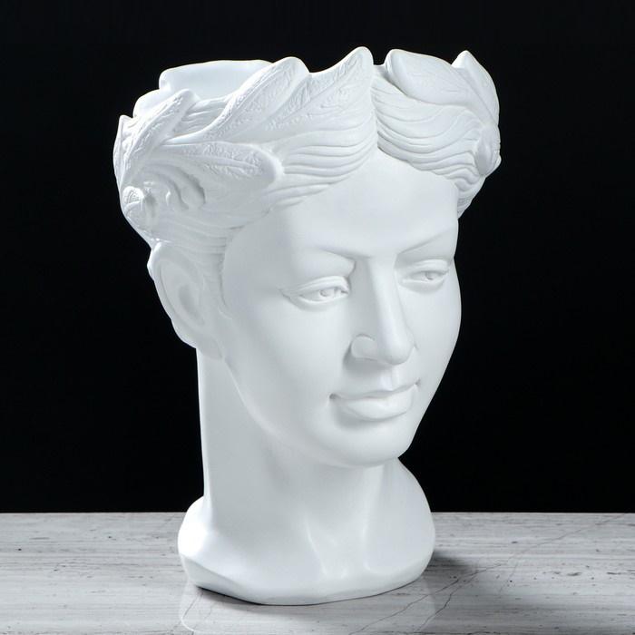"""Фигурное кашпо-голова """"Афродита"""" белый, 1 л"""