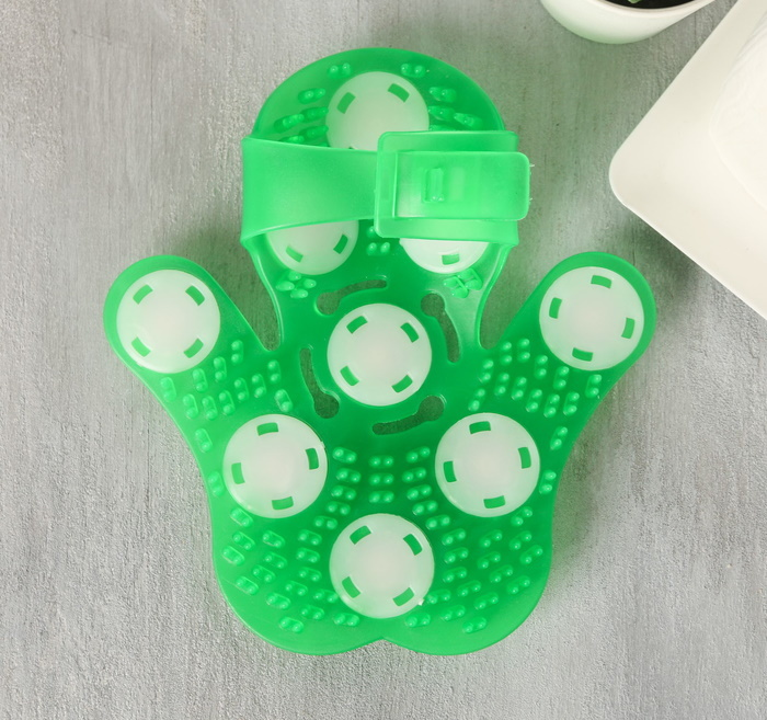 Подарочный набор с массажером и руковица для душа «Все будет авокадно», зеленый