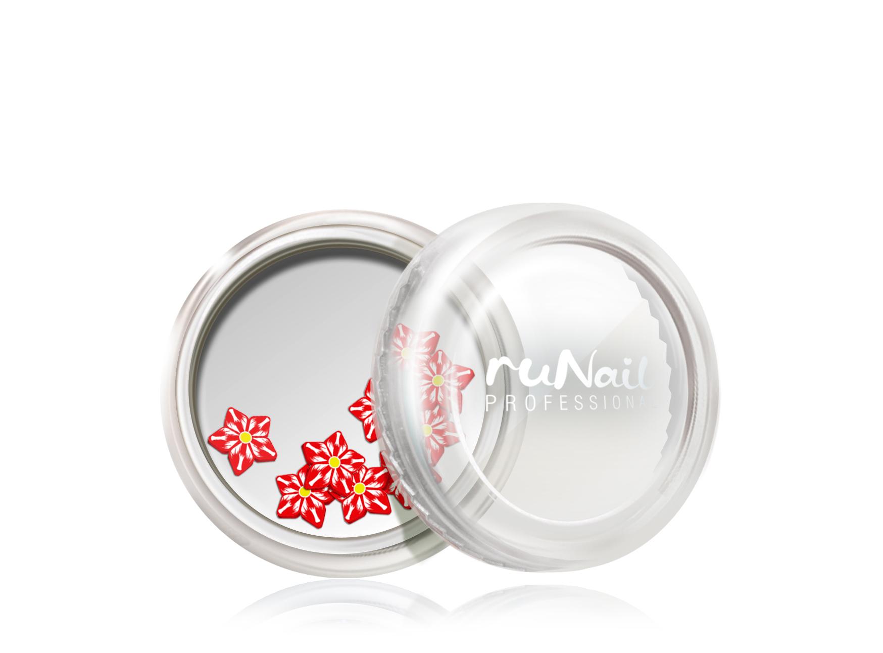 Дизайн для ногтей: резиновые аппликации (цветы, цвет: красно-белый) №0698