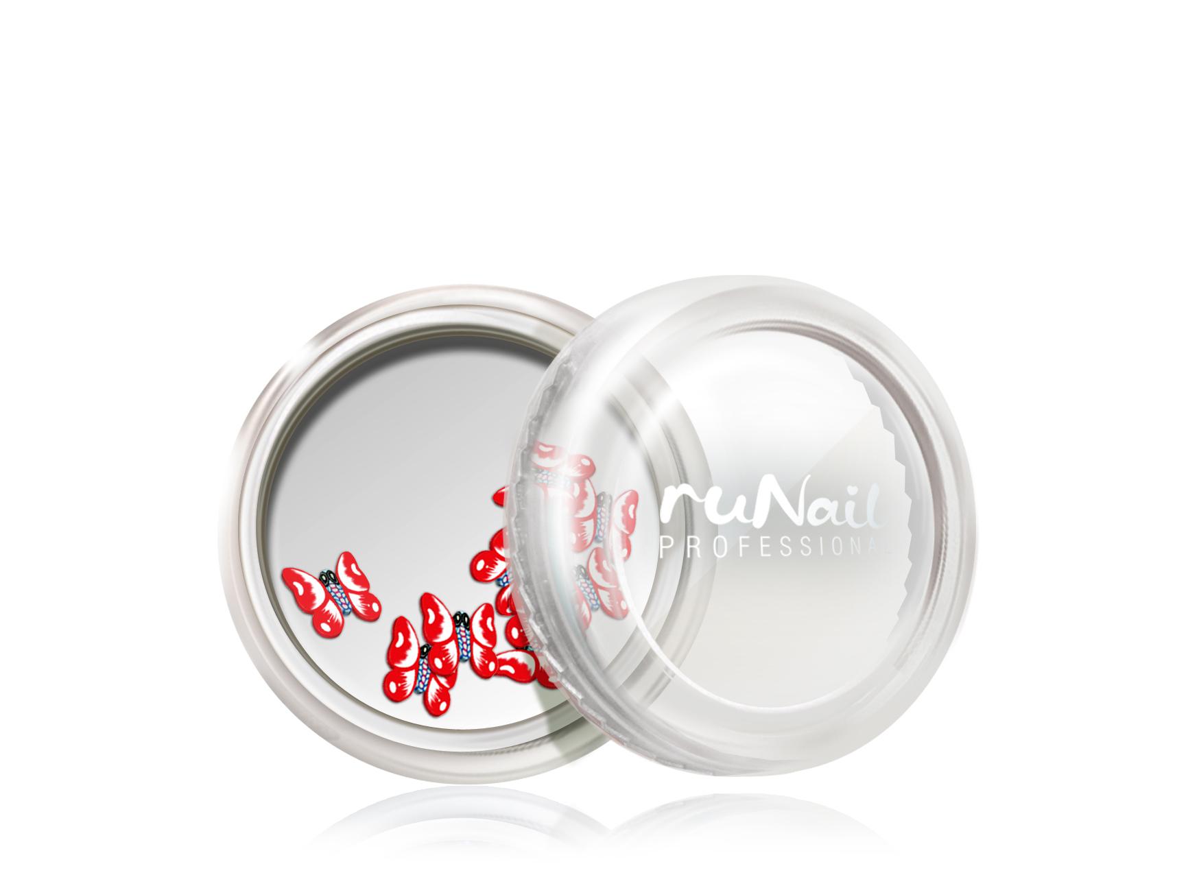 Дизайн для ногтей: резиновые аппликации (большие бабочки, цвет: красный) №0421