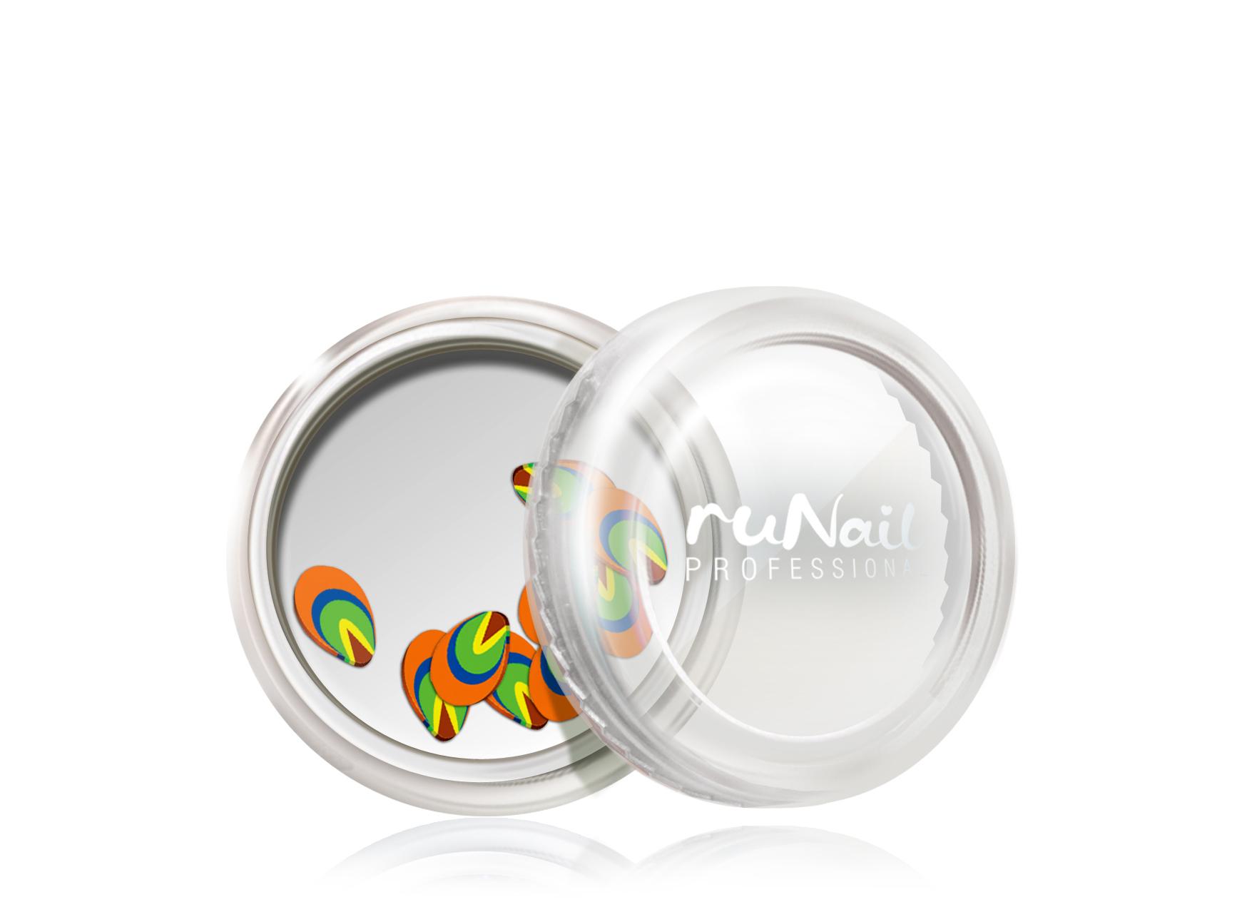 Дизайн для ногтей: резиновые аппликации (фигурки, цвет: оранжево-зеленый) №0416