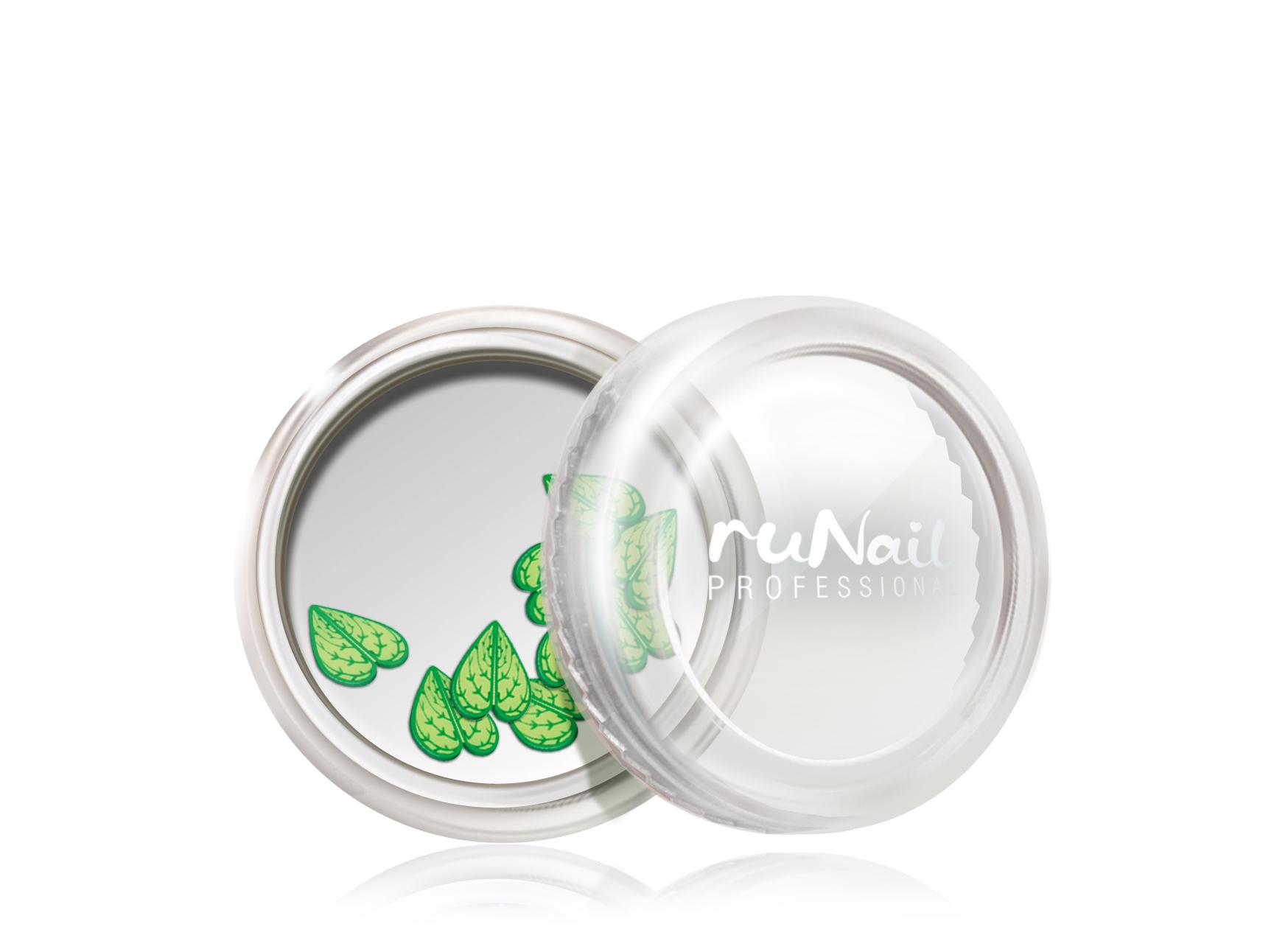 Дизайн для ногтей: резиновые аппликации (широкие листья, цвет: зеленый) №0414