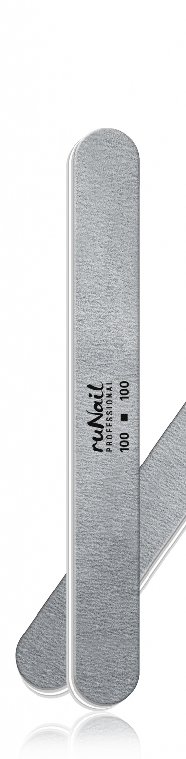 Профессиональная пилка для искусственных ногтей (серая, закруглённая, 100/100) №0232