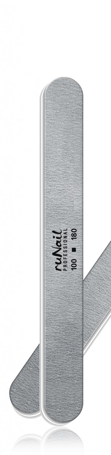 Профессиональная пилка для искусственных ногтей (серая, закруглённая, 100/180) №0233