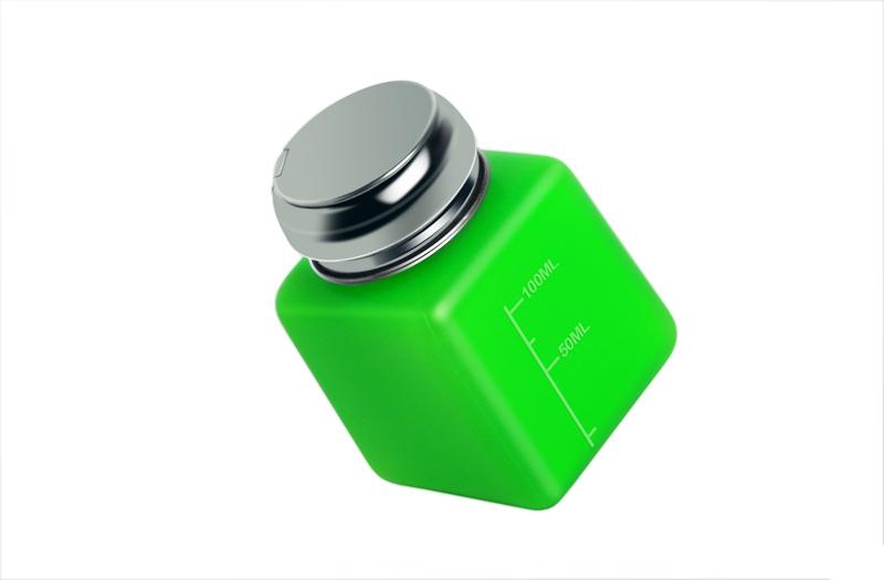 Помпа для жидкости (непрозрачный пластик, с металлической крышкой, зеленая) №0662
