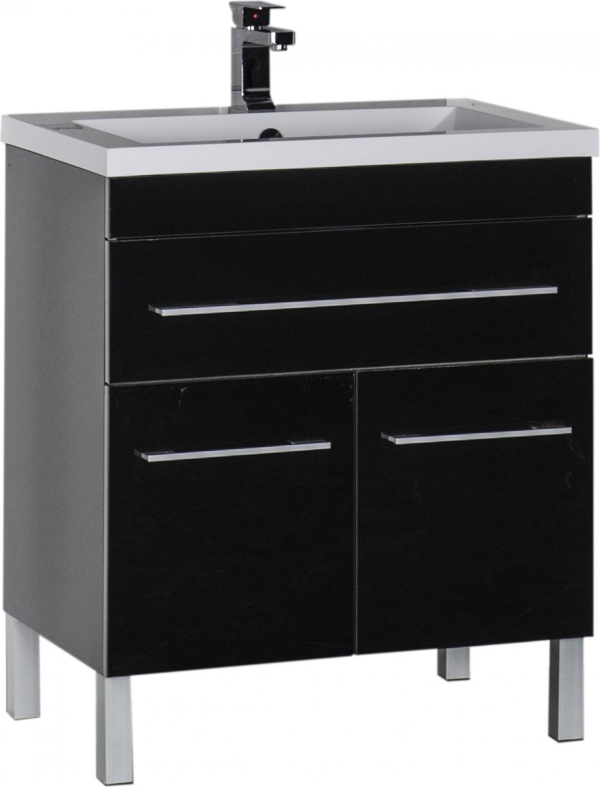 Тумба для комплекта Aquanet Верона 75 черная, 1 ящик, 2 двери