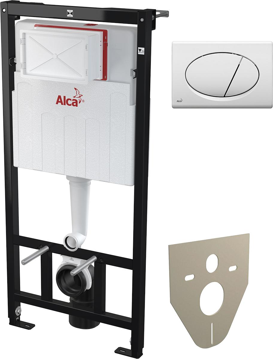 Система инсталляции для унитазов AlcaPlast Sadromodul AM101/1120 + M70 3 в 1 кнопка смыва белая