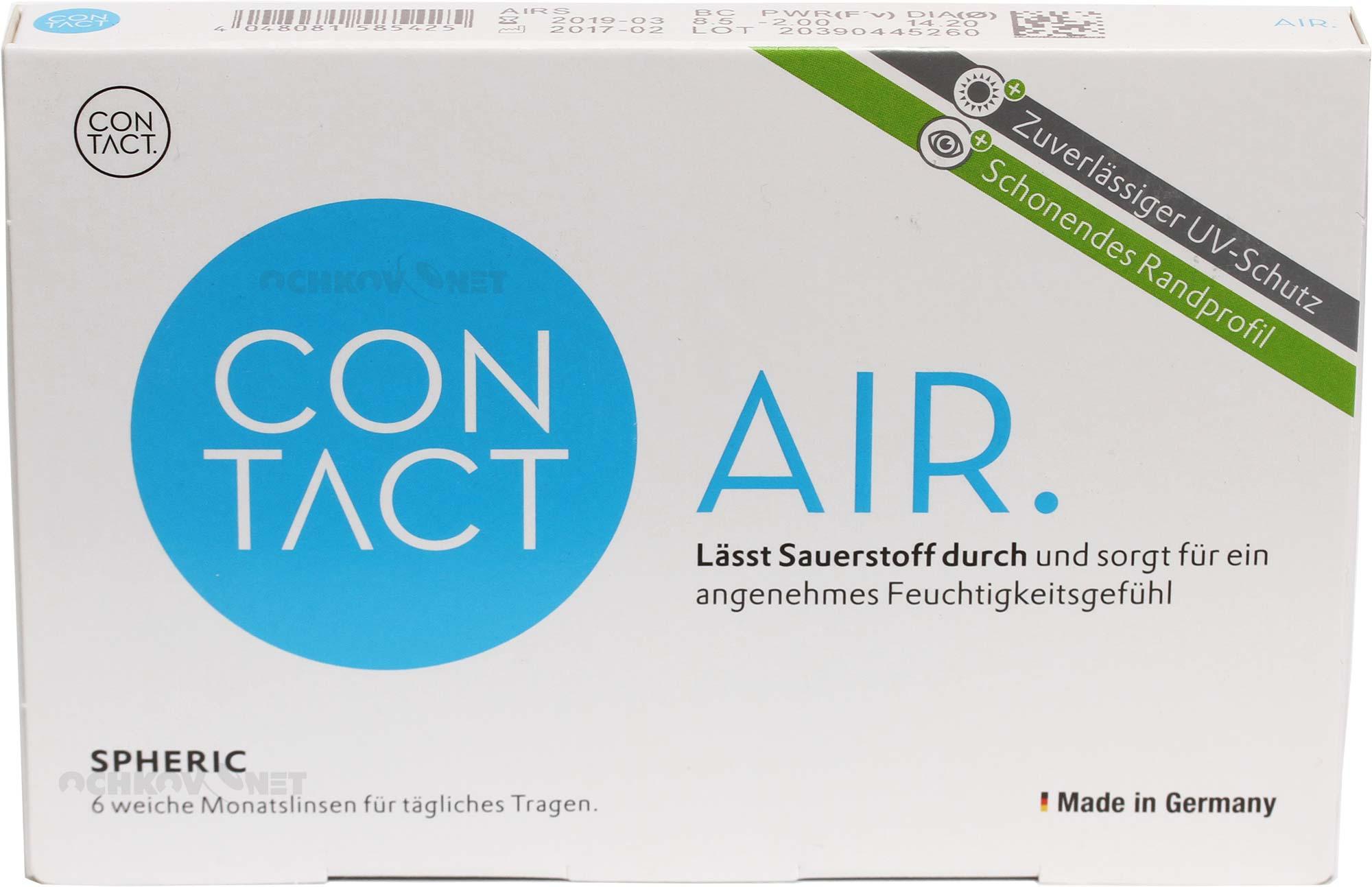 Контактные линзы Contact Air spheric 6 штук (минусовые диоптрии)