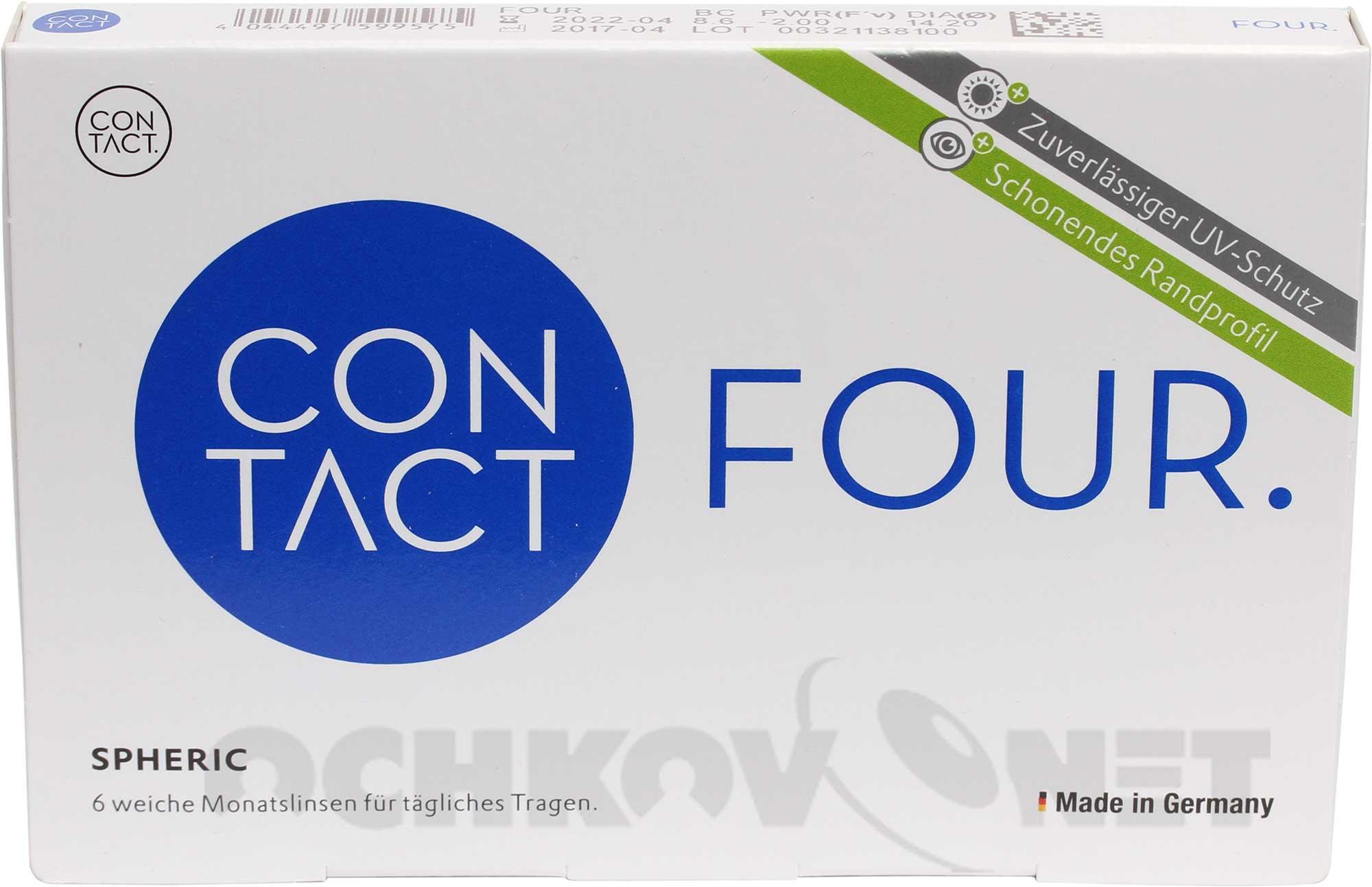 Контактные линзы Contact Four spheric 6 линз (минусовые диоптрии)