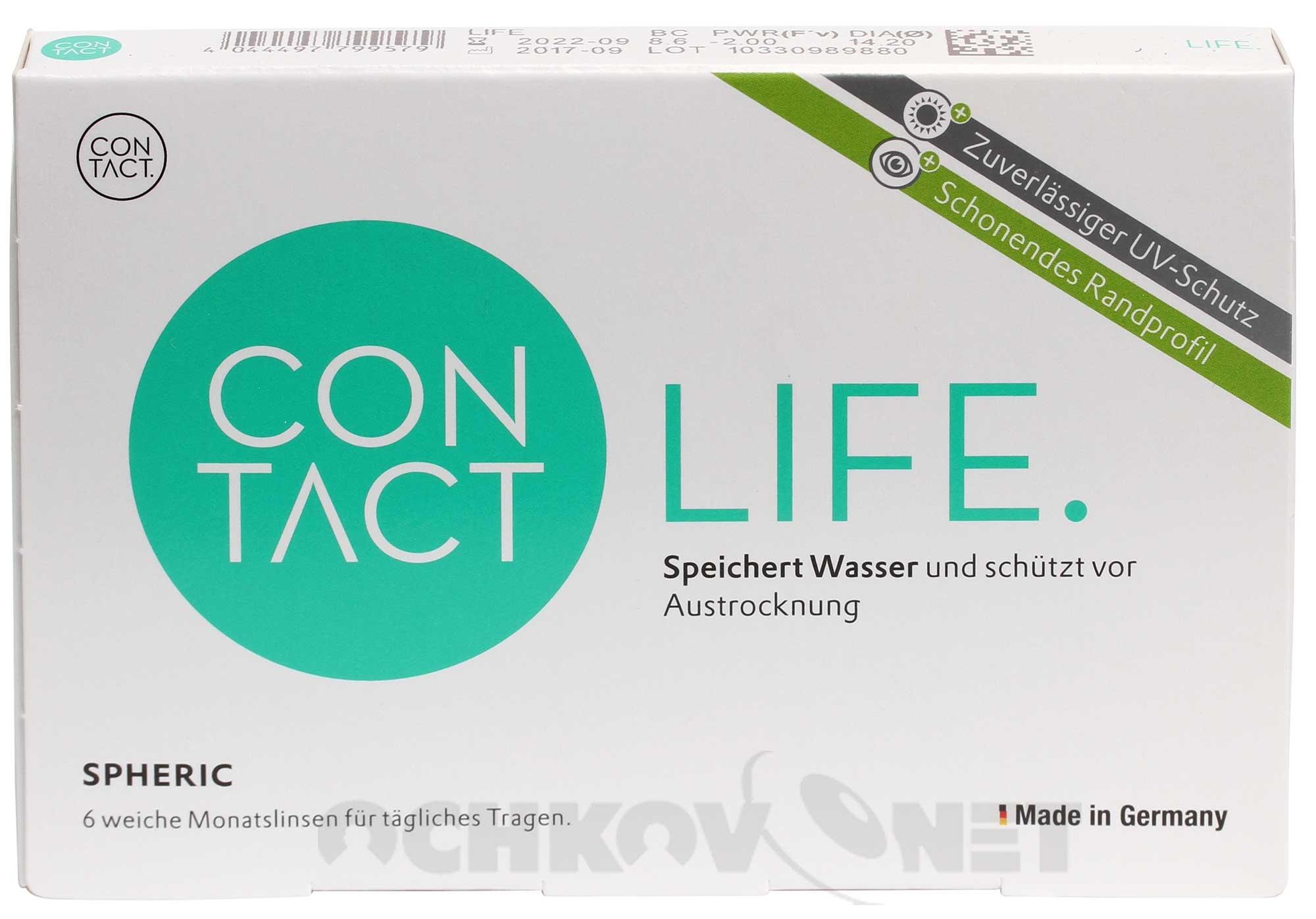 Контактные линзы Contact Life spheric 6 линз (радиус 8.3, минус и плюс)