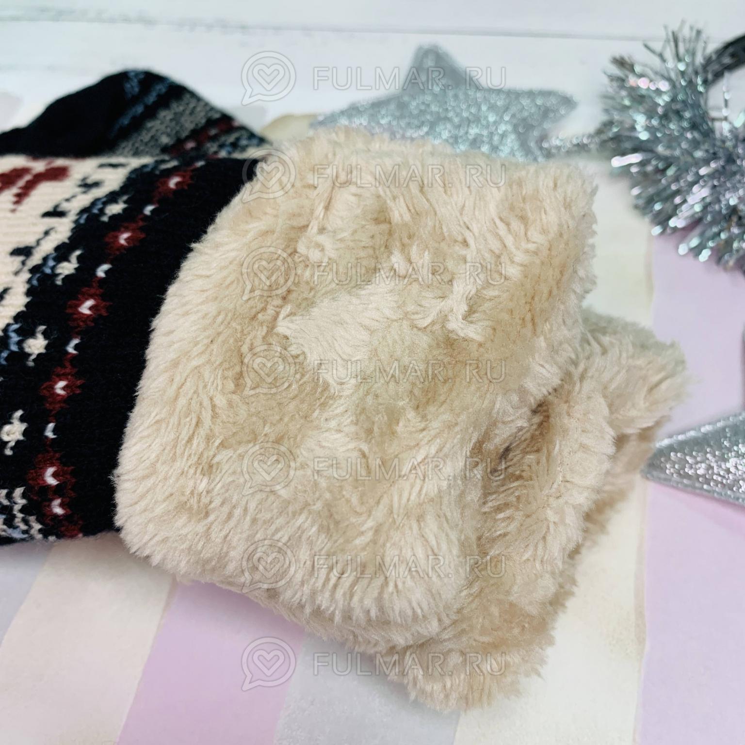 Варежки со снежинками Winter шерстяные Чёрные