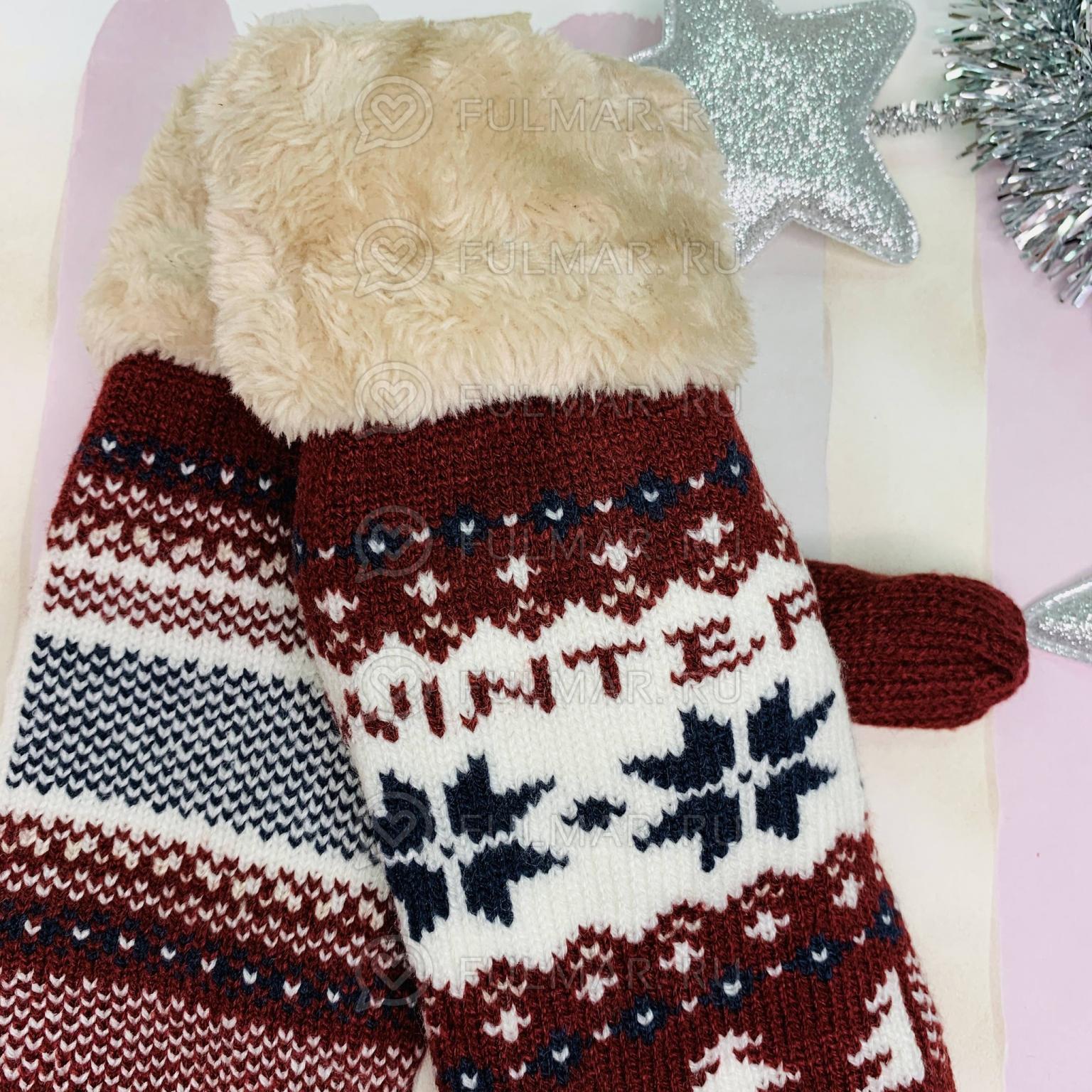 Варежки со снежинками Winter шерстяные Коричневые