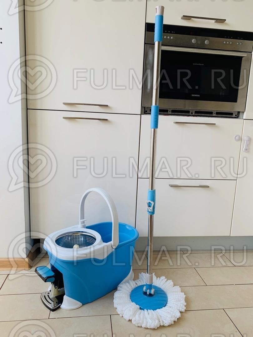 Большое ведро с педалью для отжима и полоскания и телескопическая швабра Spin Mop Голубая