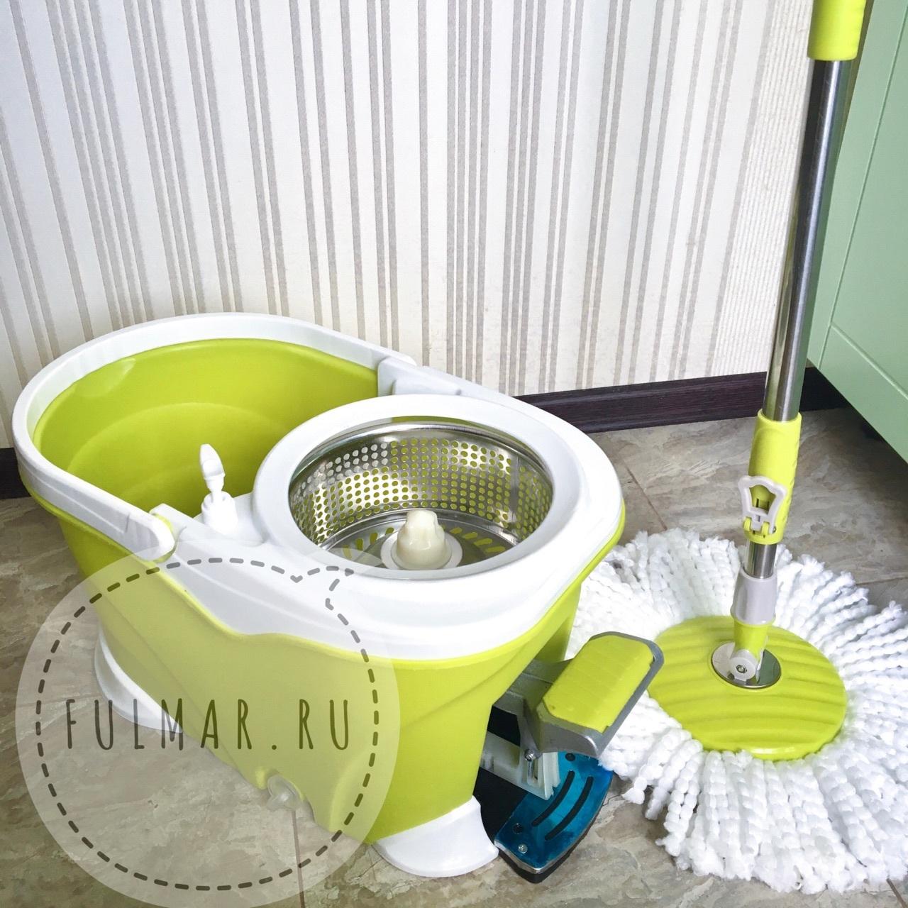 Швабра и ведро со Стальной педалью для отжима и полоскания Spin Mop 9 литров Салатовая
