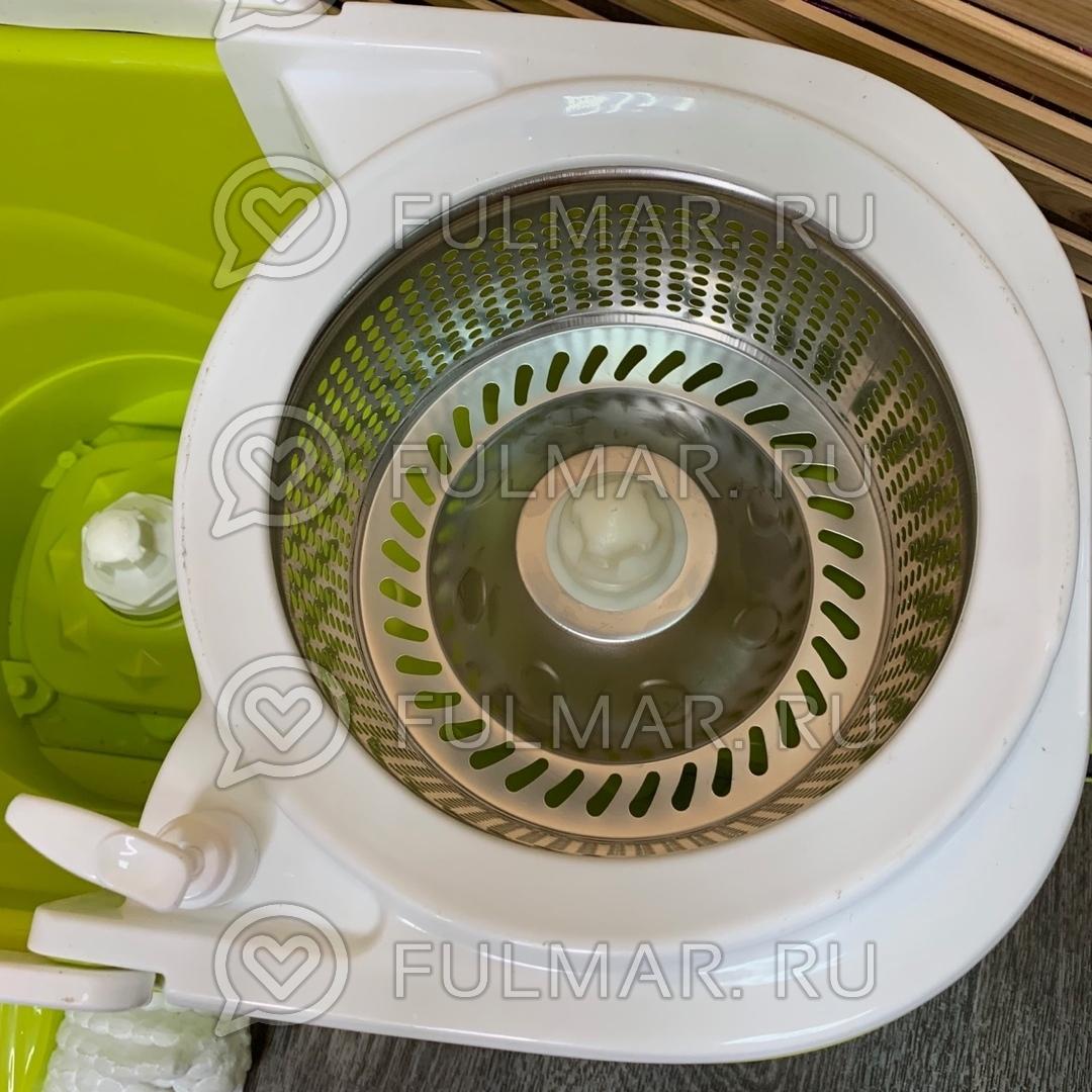 Большое ведро с педалью для отжима и полоскания и телескопическая швабра Spin Mop Салатовая