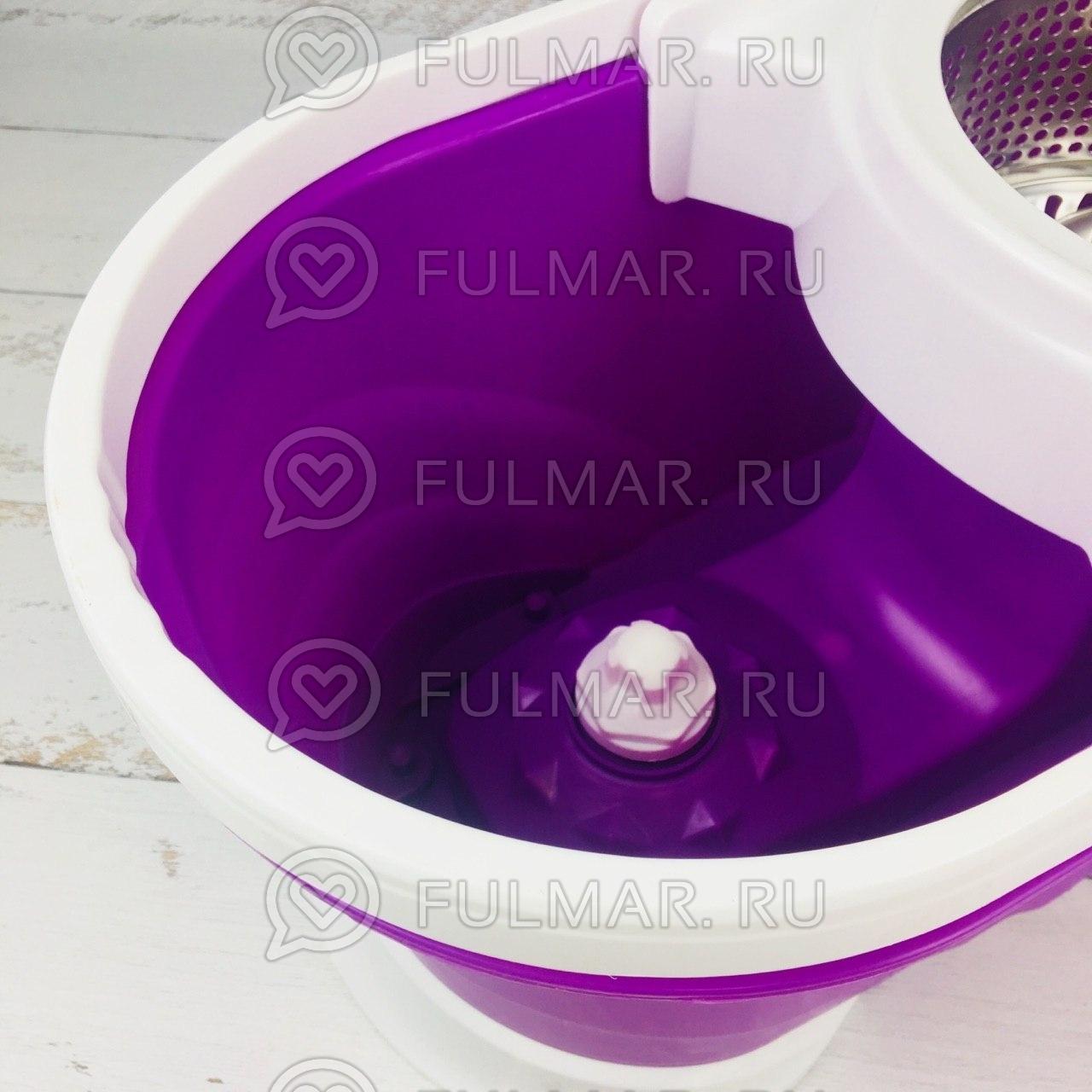 Большое ведро с педалью для отжима и полоскания и телескопическая швабра Spin Mop Фиолетовая