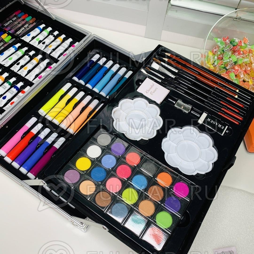 Складной художественный набор юного художника для рисования в чемодане-пенале Розовый
