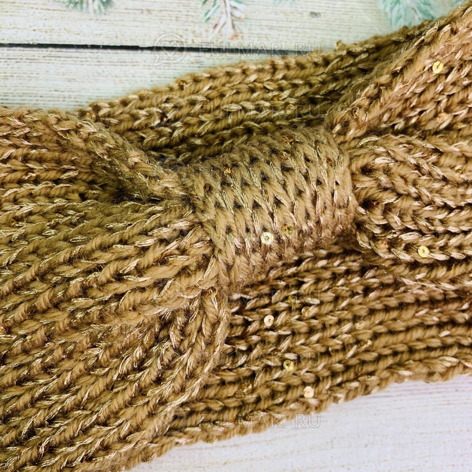 Повязка чалма на голову вязаная цвет: бежевый-золотистый
