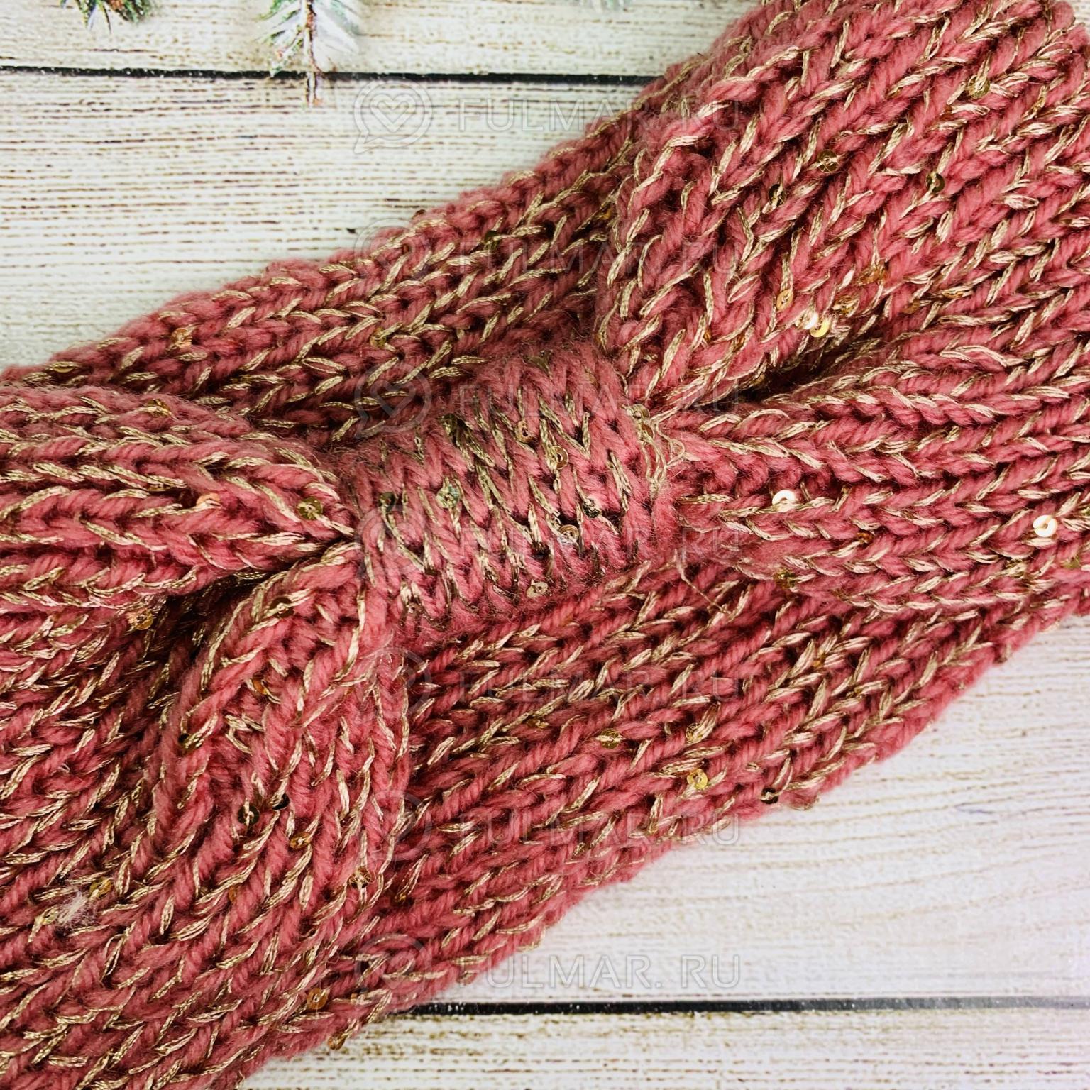 Повязка чалма на голову вязаная цвет: розовый-золотистый