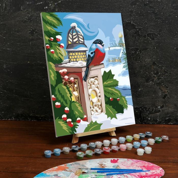 Картина по номерам на холсте с подрамником «Снегирь» 3040 см
