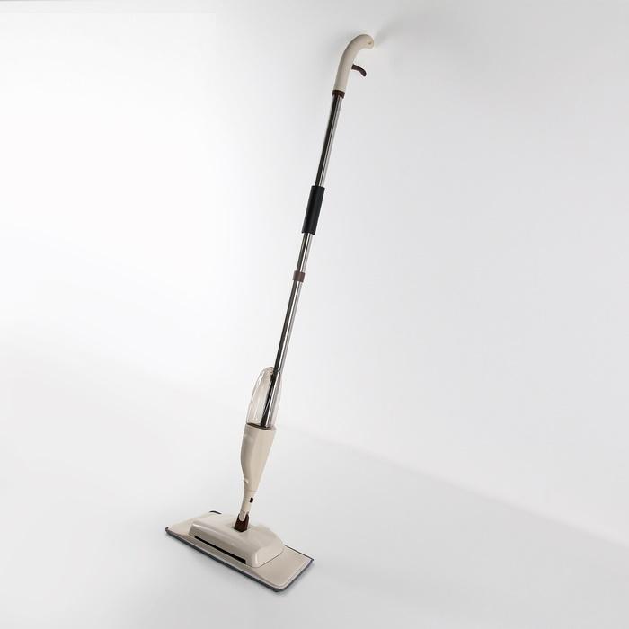 Умная швабра с распылителем и автоматическим веником с щётками 128*41*14 см бежевая