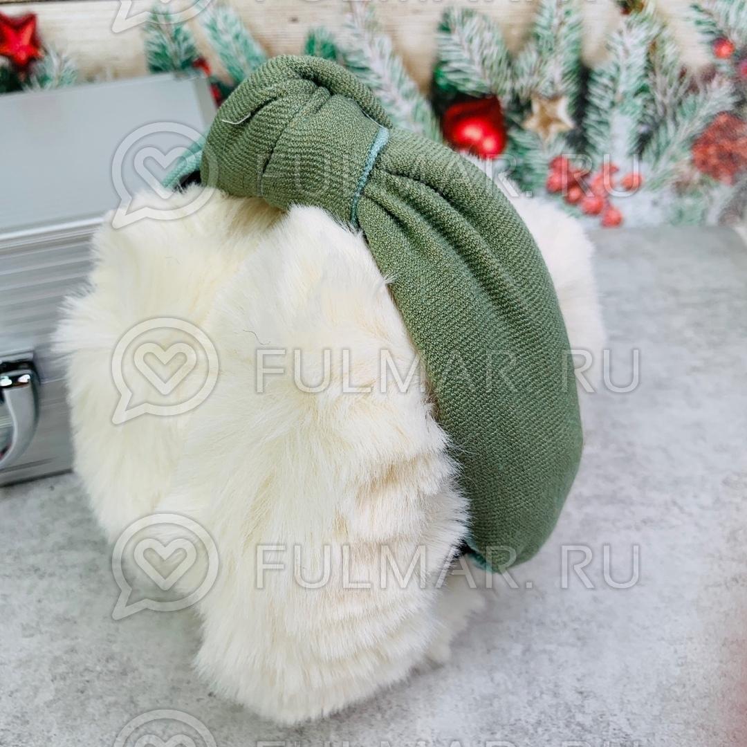 Наушники утеплённые складные с ободком-узлом цвет: белый