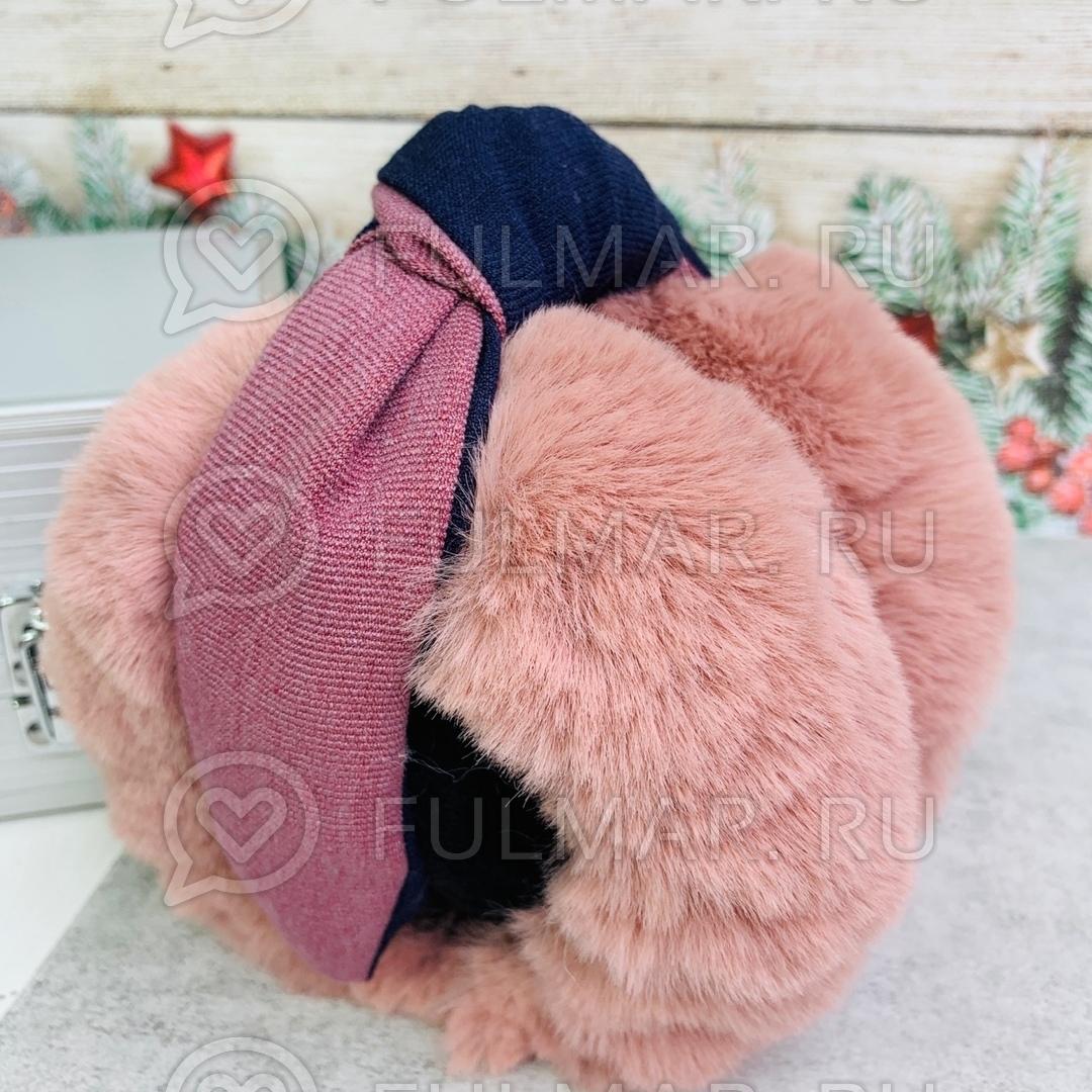 Наушники утеплённые складные с ободком-узлом цвет: тёмно-розовый